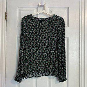 Zara Basic Green Printed Long Sleeve Blouse